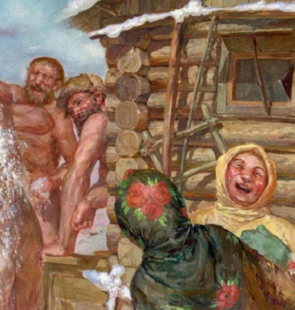 Голая Семья Моется В Бане